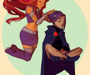 raven, starfire, and teen titans image