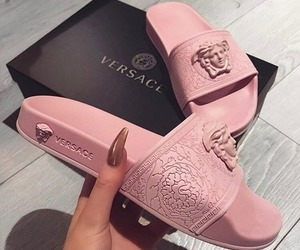 Versace, pink, and shoes image