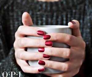 coffee, red nails, and nails image