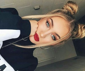 blonde, eyes, and hair style image