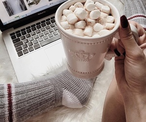 cozy, hot ​chocolate, and winter image