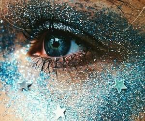 blue, eyes, and glitter image