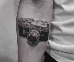 camera tattoo, tattoo, and black and grey tattoo image