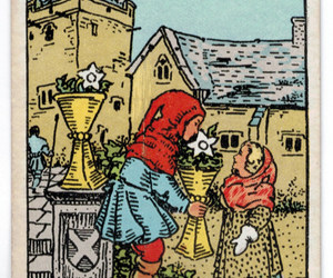 1910, playing card, and six of cups image
