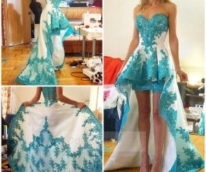 lace party dress, sweetheart short dress, and high low blue dress image