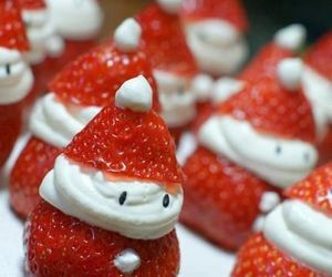 christmas, santa, and strawberries image