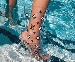shoes, water, and Louis Vuitton image