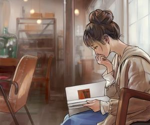 art, girl, and reading image