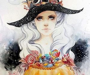 art, Halloween, and watercolor image