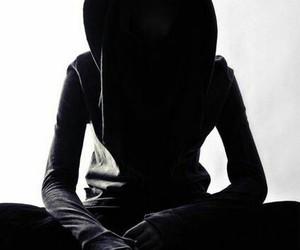 black, hooded figure, and black aesthetic image