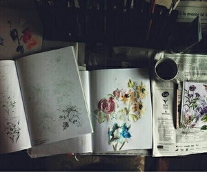 art, flowers, and book image