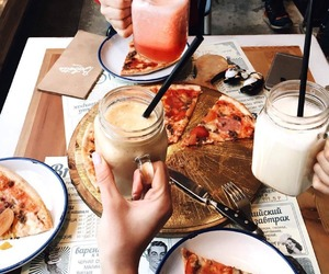 food, pizza, and drink image