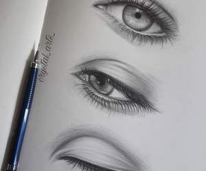 beautiful, eyes, and pencil image