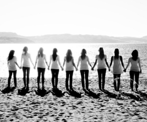 friends, black and white, and girls image