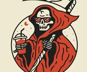 grim reaper, red, and scythe image