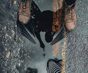 photo art and reflection on the water. image