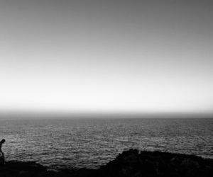 b&w, black and white, and sea image