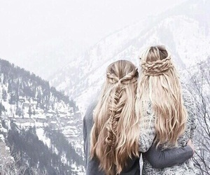 hair, winter, and friends image
