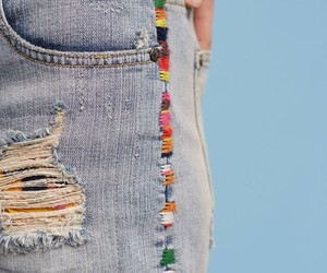 jeans, embroidery, and style image