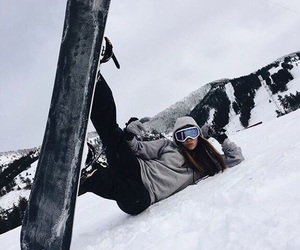 girl, snowboard, and winter image