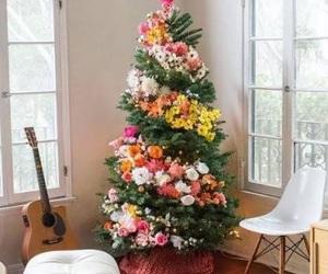 christmas, flowers, and tree image
