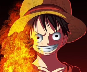 anime, strawhat, and luffy image