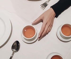 tea, hand, and coffee image