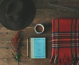 hat, autumn, and book image
