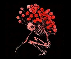 flowers, skeleton, and art image