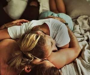bed, hug, and goodmorning image