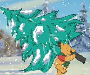 christmas, winnie the pooh, and disney image