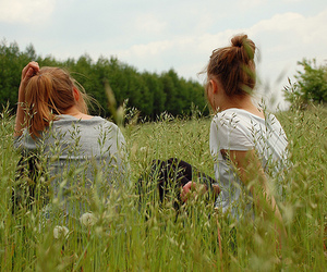 girl, friends, and field image