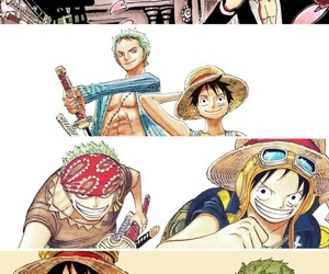 one piece, roronoa zoro, and monkey d luffy image