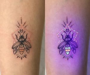 tattoo, bee tattoo, and glow in the dark tattoo image