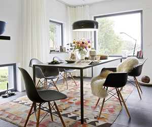 dining room, home decor, and eames armchairs image