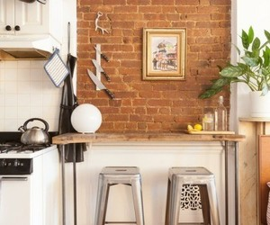 exposed brick, home decor, and kitchen image