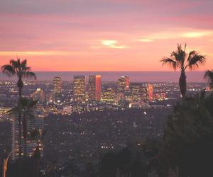 city, sunset, and los angeles image