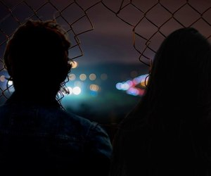 grunge, couple, and night image