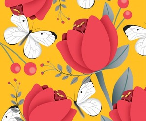 butterfly, design, and floral image
