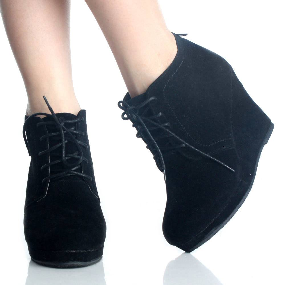 Wedge Ankle Booties Black Lace Up High Heels Womens Platform Boots ... 0fba9437b4