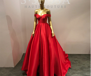 off the shoulder, prom dress, and red image