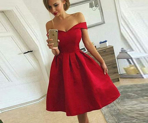evening dress, red, and homecoming dress image