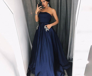 navy blue, prom dress, and strapless image