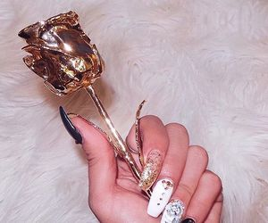 nails, gold, and rose image