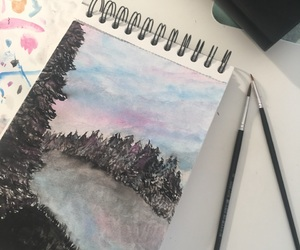 drawing, sketch, and forest image