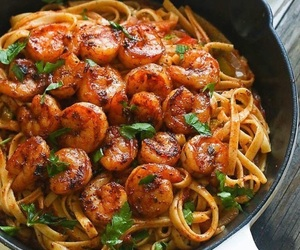 shrimp, food, and pasta image