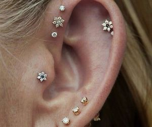 diamonds, ear, and flowers image