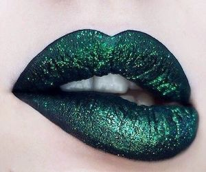 green, lips, and lipstick image