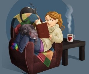 book, cat, and cozy image