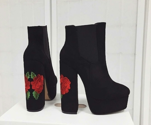black, boots, and floral image